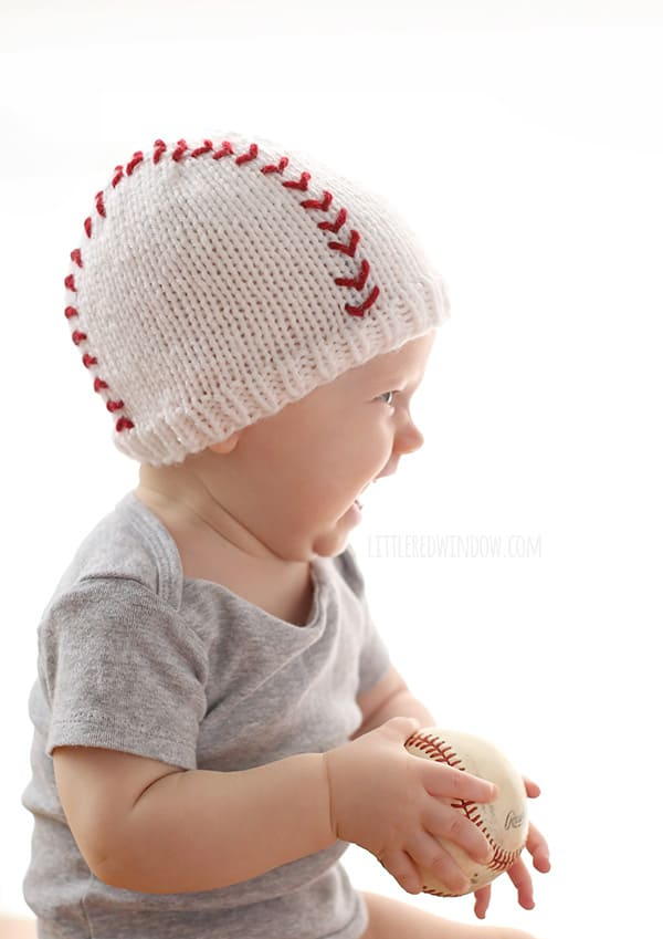 baseball baby hat knitting pattern window