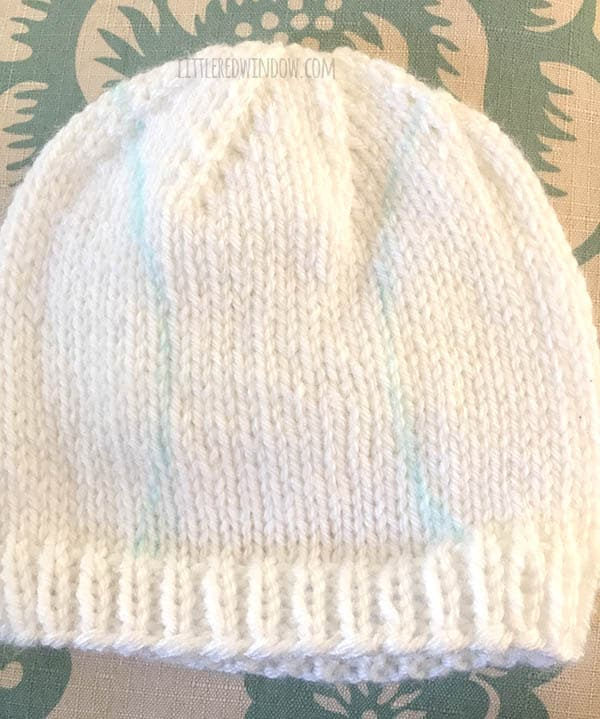 Baby Baseball Hat Knitting Pattern for your cute little slugger! | littleredwindow.com