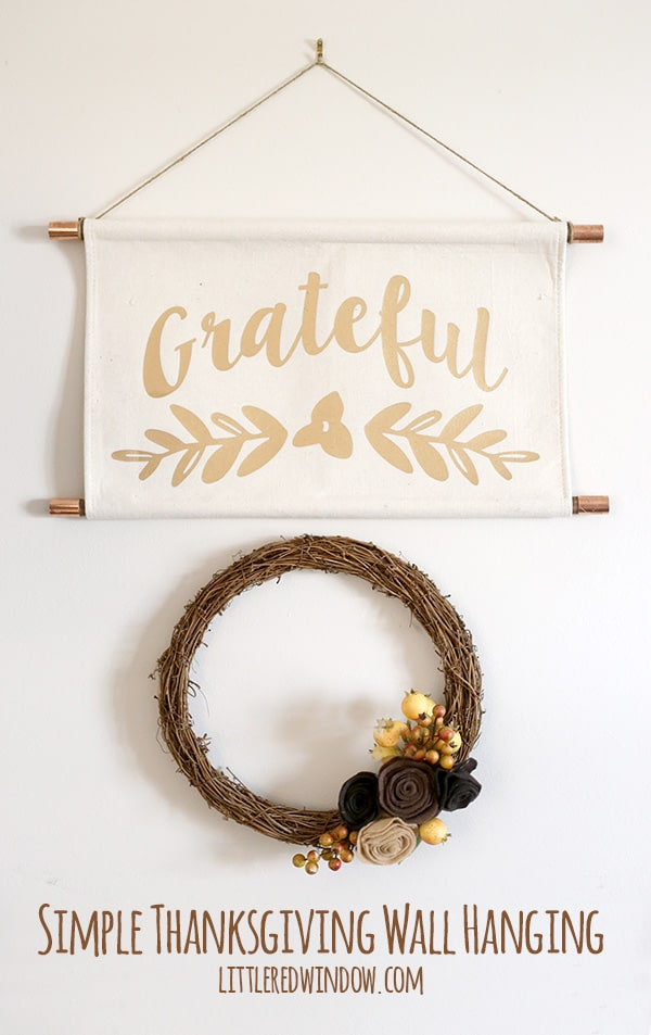 Turn a dollar store placemat into this Simple Thanksgiving Wall Hanging! | littleredwindow.com
