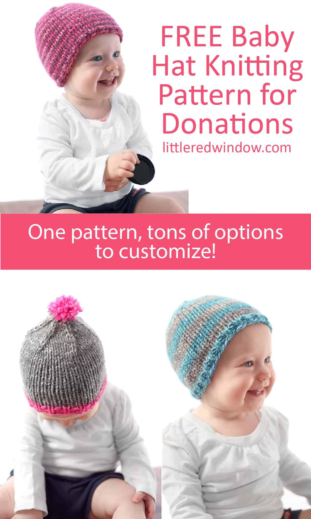 The Do-Gooder Free Baby Hat knitting pattern has a free pdf download, this pattern uses bulky weight yarn for a cute, simple, and quick baby hat you can donate to charity!