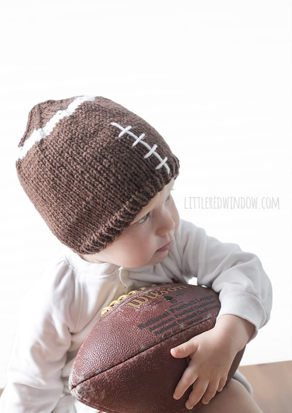 Fun Football Hat Knitting Pattern for babies and toddlers! | littleredwindow.com