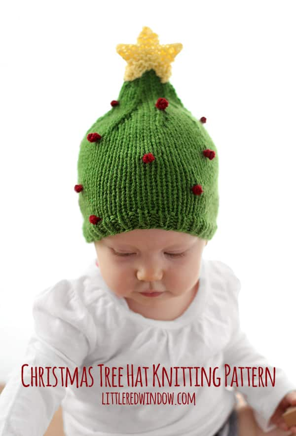 Christmas Tree Hat Knitting Pattern Little Red Window