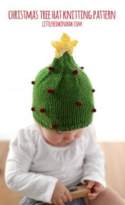 Cute Christmas Tree Hat Free Knitting Pattern! | littleredwindow.com