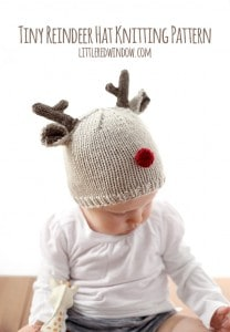 Tiny Reindeer Hat Knitting Pattern, perfect for Christmas! | littleredwindow.com