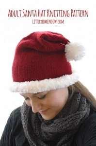 Quick and easy Adult sized Santa Hat Knitting Pattern! | littleredwindow.com