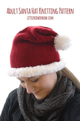 Adult Santa Hat Knitting Pattern