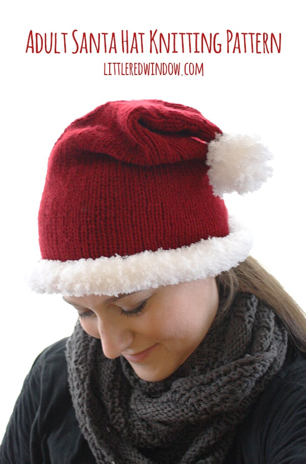 7aa58e23b Adult Santa Hat Knitting Pattern - Little Red Window