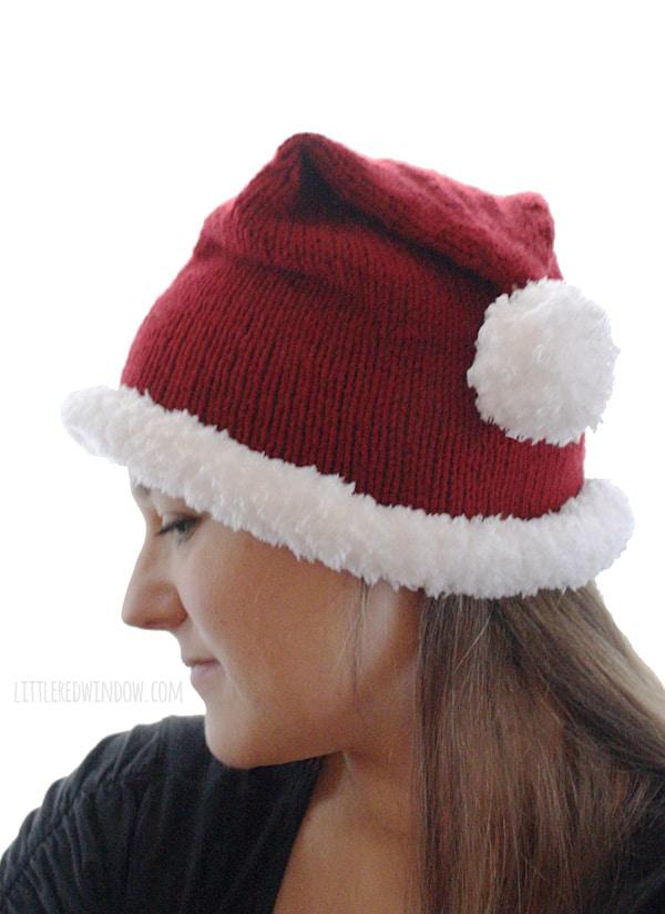Adult Santa Hat Knitting Pattern - Little Red Window