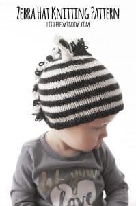 Stripey Zebra Hat Knitting Pattern for babies! | littleredwindow.com