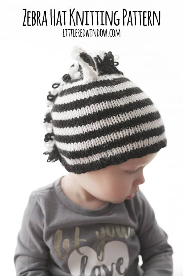 Stripey Zebra Hat Knitting Pattern for babies! | littleredwindow.com