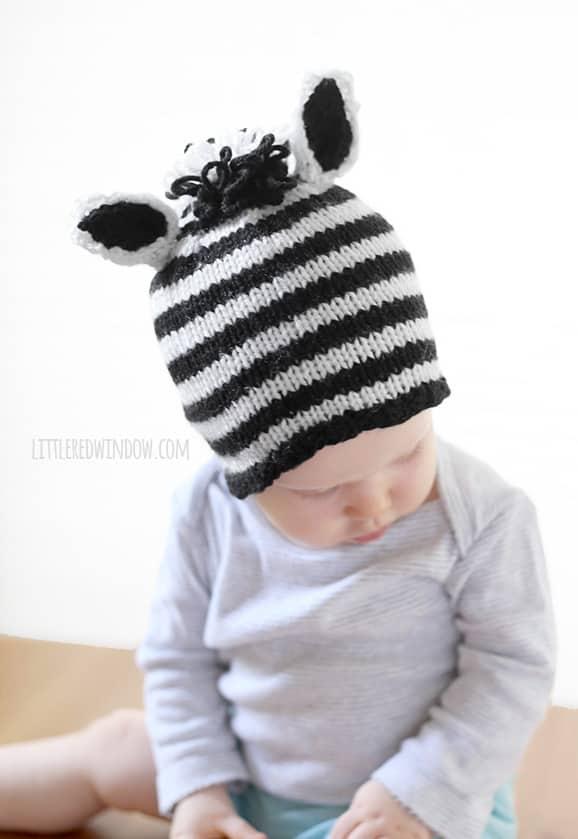 Zebra Hat Knitting Pattern : Stripey zebra hat knitting pattern for babies