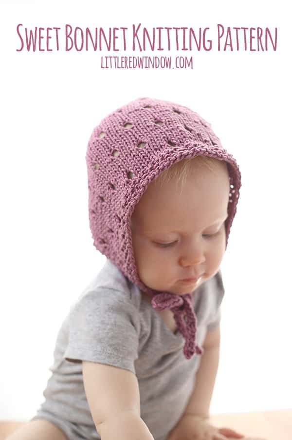 Sweet Baby Bonnet Knitting Pattern Little Red Window