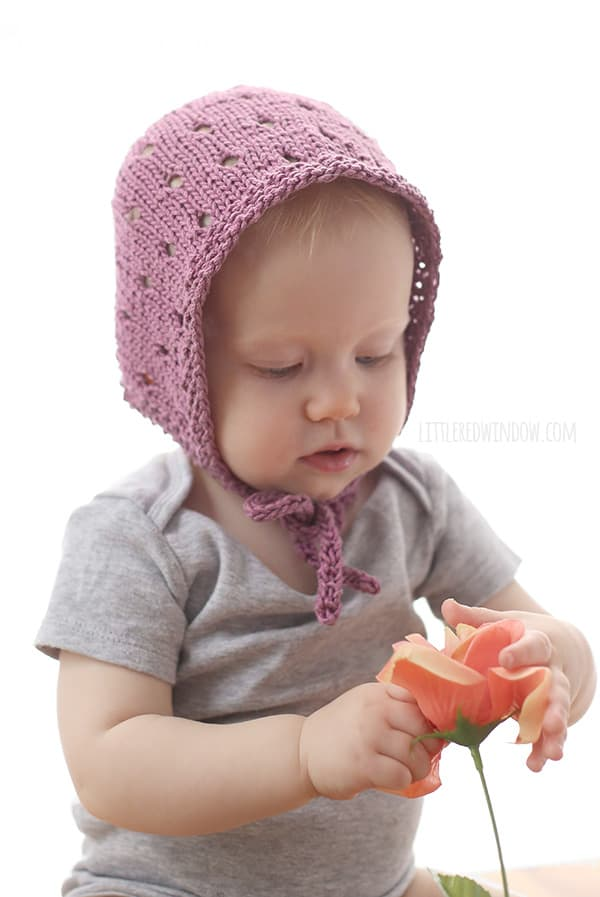 Sweet Baby Bonnet Knitting Pattern for newborns, babies and toddlers! | littleredwindow.com