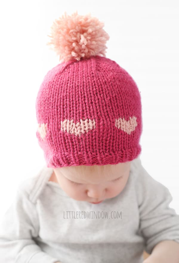 Little Valentine Fair Isle Heart Hat Knitting Pattern - Little Red ...