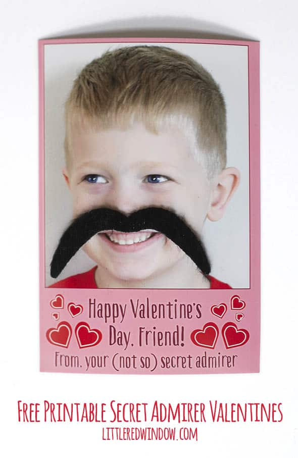 Adorable free printable secret admirer valentines, add your own photo and silly mustache disguise! | littleredwindow.com