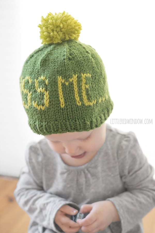 Fair Isle St. Patrick's Day KISS ME Hat Knitting Pattern for babies and toddlers! | littleredwindow.com