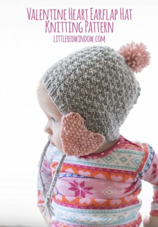Valentine Heart Earflap Hat Knitting Pattern