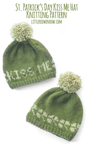 St. Patrick's Day Kiss Me Hat knitting pattern for your newborn, baby or toddler!