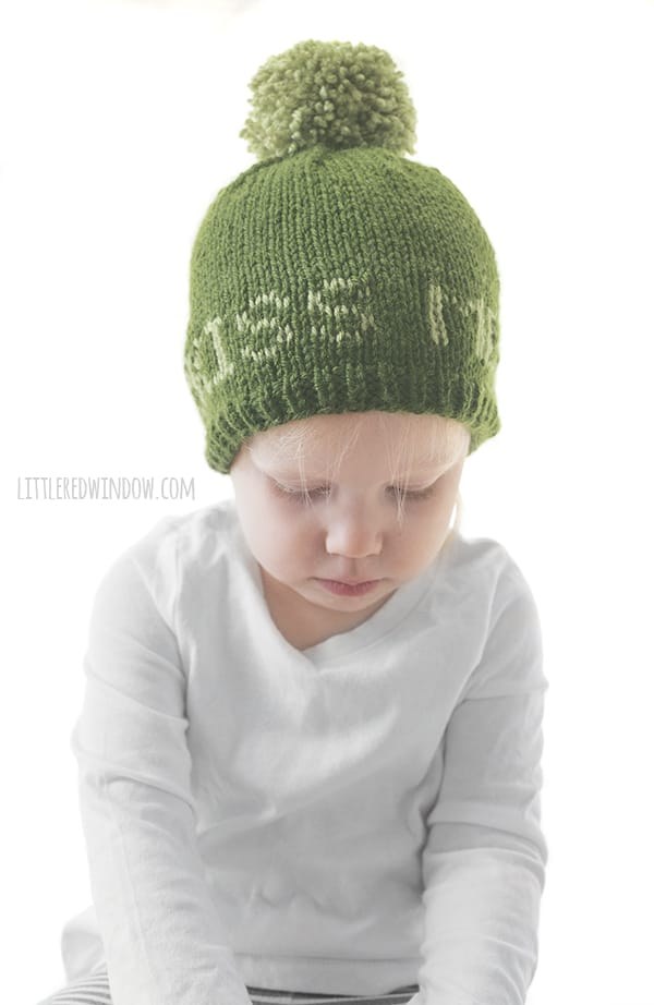 Cute green St. Patrick's Day Kiss Me Hat knitting pattern!