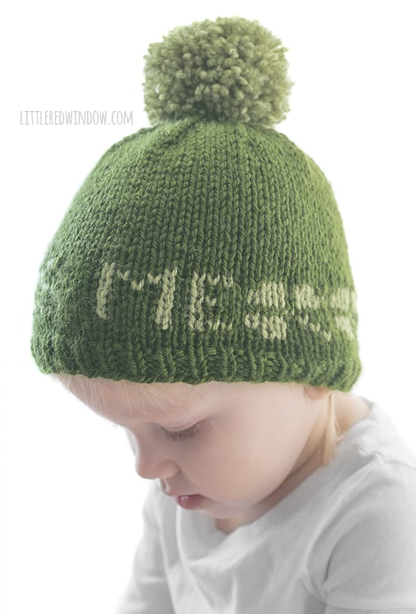 The back of the St. Patrick's Day Kiss Me hat knitting pattern has a row of cute shamrocks!