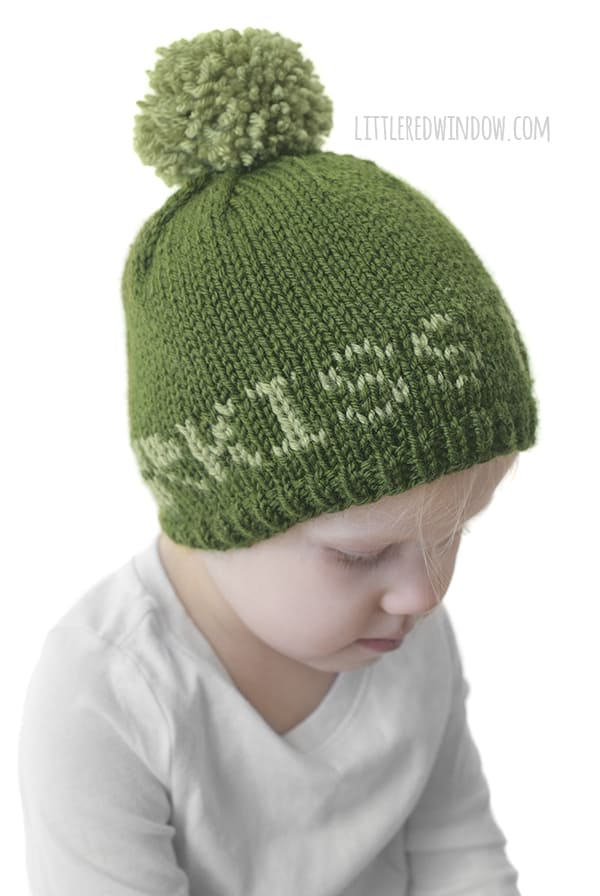 The St. Patrick's Day Kiss Me Hat knitting pattern is a fun and easy fair isle knitting pattern for babies and toddlers!