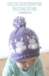 Fair Isle Easter Bunny Hat Knitting Pattern for babies and toddlers! | littleredwindow.com