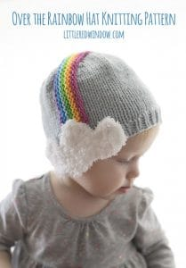 Over the Rainbow Hat Knitting Pattern for babies and toddlers with cute rainbow headband fluffy cloud earflaps! | littleredwindow.com