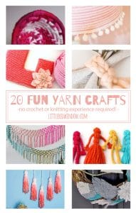 20 Fun Yarn Crafts you can make, no knitting or crochet experience required! | littleredwindow.com