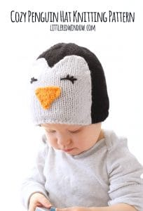 Cozy Penguin Hat Knitting Pattern, adorable for babies and toddlers! | littleredwindow.com