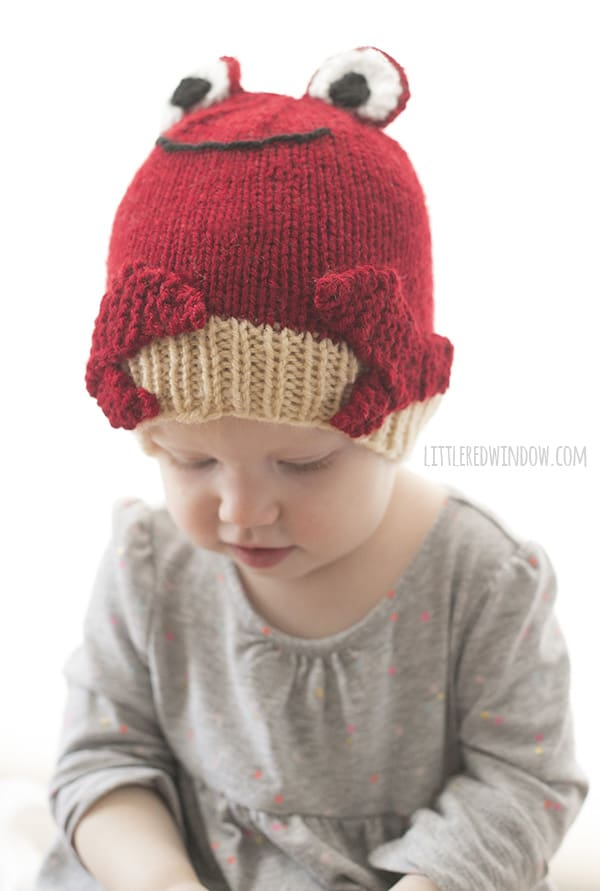Crabby Crab Hat Knitting Pattern for babies and toddlers! | littleredwindow.com