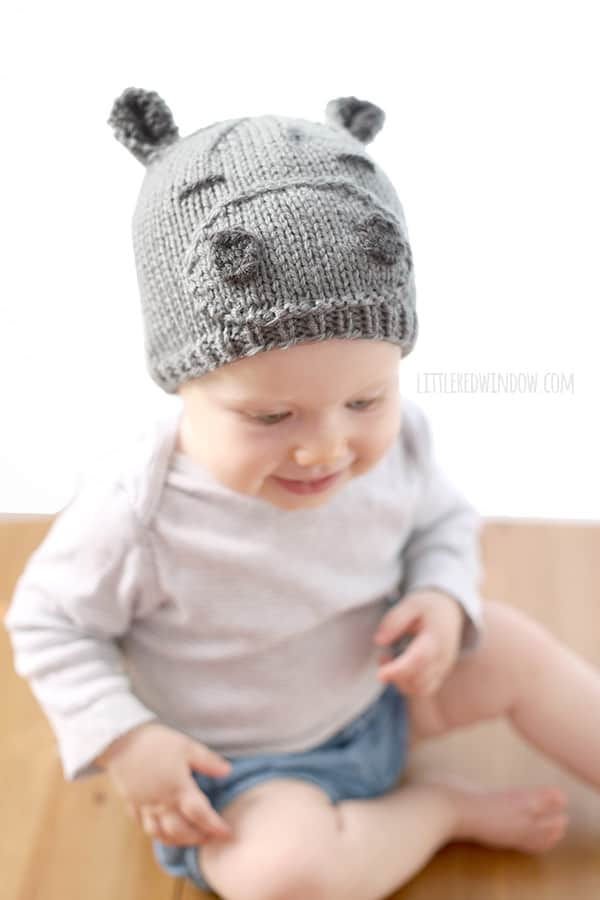 Happy Hippo Hat Knitting Pattern! | littleredwindow.com