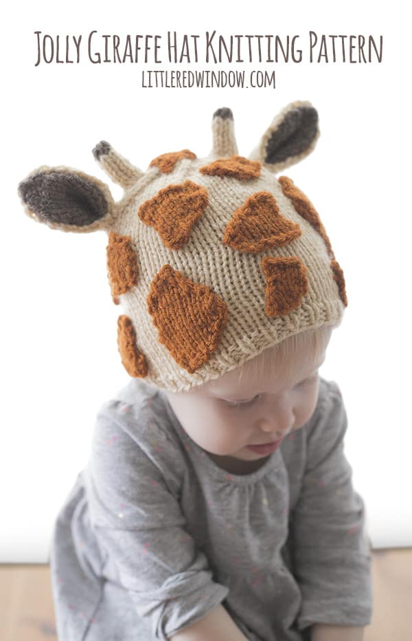 Jolly Giraffe Hat Knitting Pattern for babies and toddlers! | littleredwindow.com