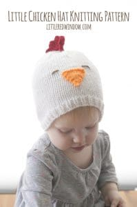Little Chicken Hat Knitting Pattern for babies and toddlers! | littleredwindow.com