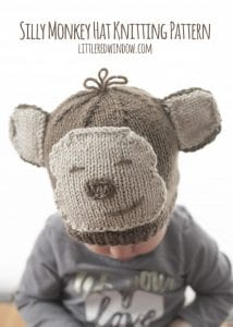 Adorable Silly Monkey Hat Knitting Pattern for babies and toddlers! | littleredwindow.com