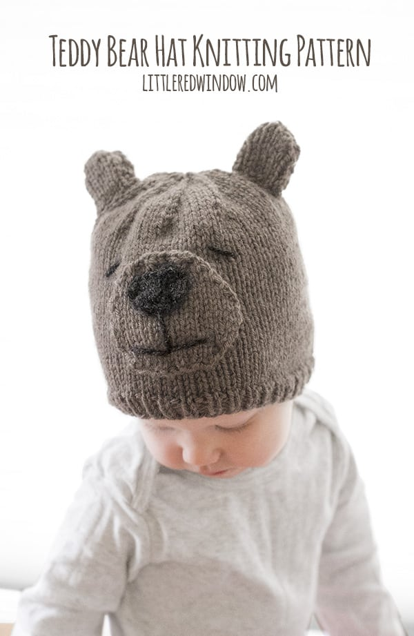 Brand new Teddy Bear Hat Knitting Pattern with sizes for babies and toddlers! | littleredwindow.com