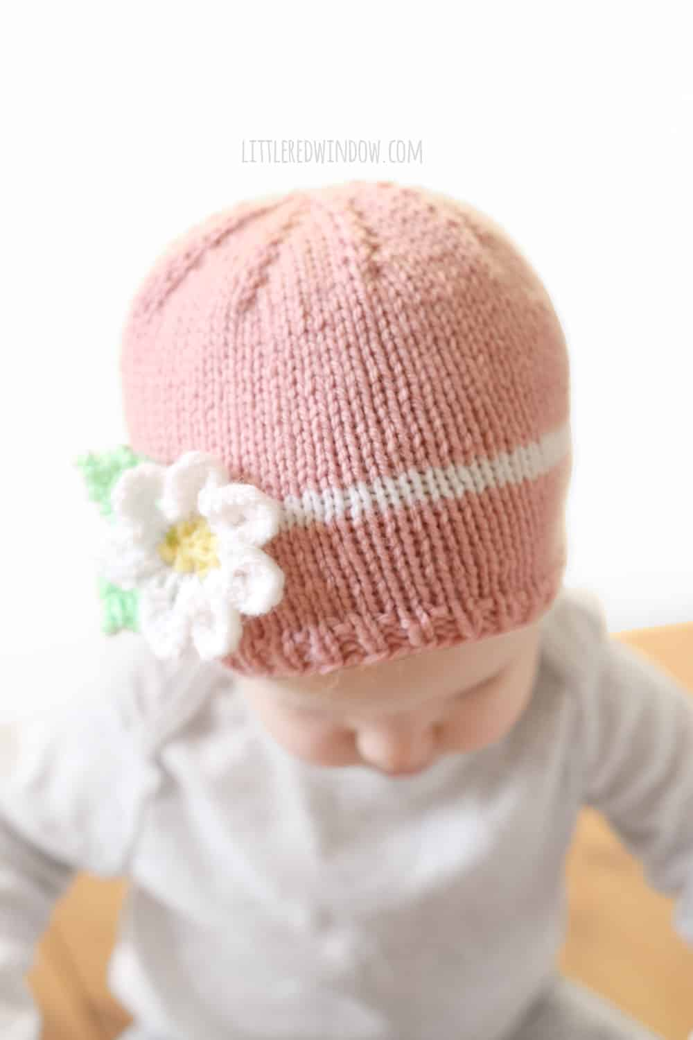Spring Daisy Hat Knitting Pattern for newborns, babies and toddlers! | littleredwindow.com