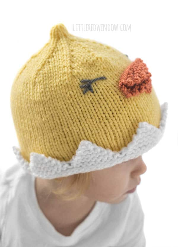 The eggshell brim on the Little Chick Hat knitting pattern is really easy to knit!
