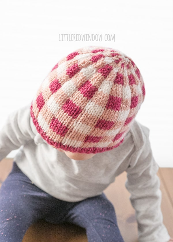 Adorable Buffalo Plaid Knit Hat Knitting Pattern for newborns, babies and toddlers! | littleredwindow.com