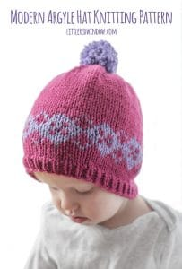 Fair Isle Modern Argyle Hat Knitting Pattern for newborns, babies and toddlers! | littleredwindow.com