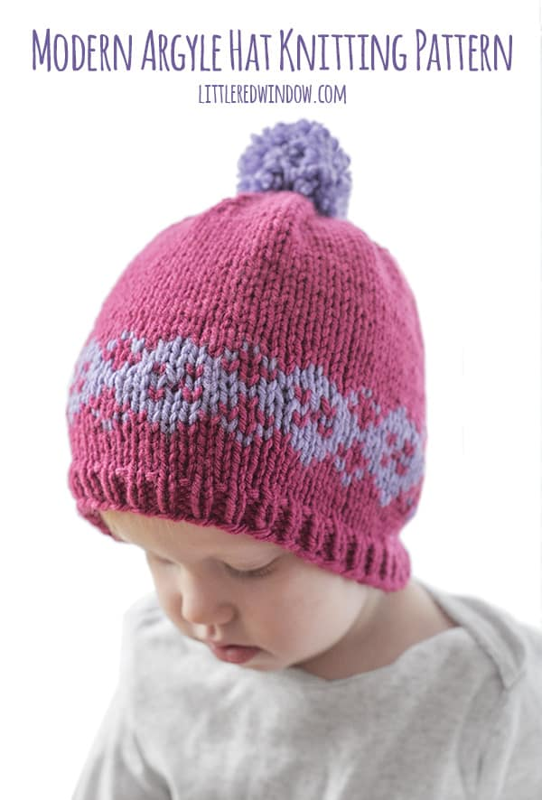 Modern Argyle Hat Knitting Pattern for newborns, babies and toddlers! | littleredwindow.com