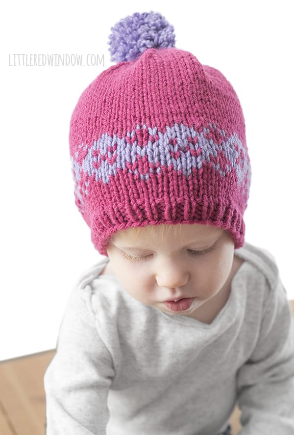 Fair Isle Modern Argyle Hat Knitting Pattern for newborns, babies and toddlers! | littleredwindow.com