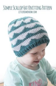 Simple Scallop Hat Knitting Pattern for babies and toddlers!   littleredwindow.com