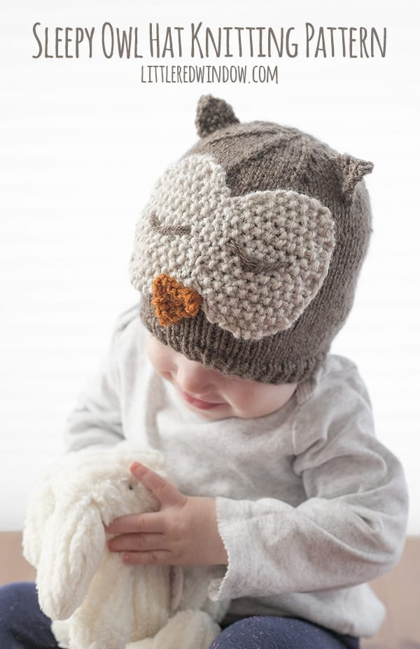 Sleepy Owl Hat Knitting Pattern - Little Red Window d947b303707e