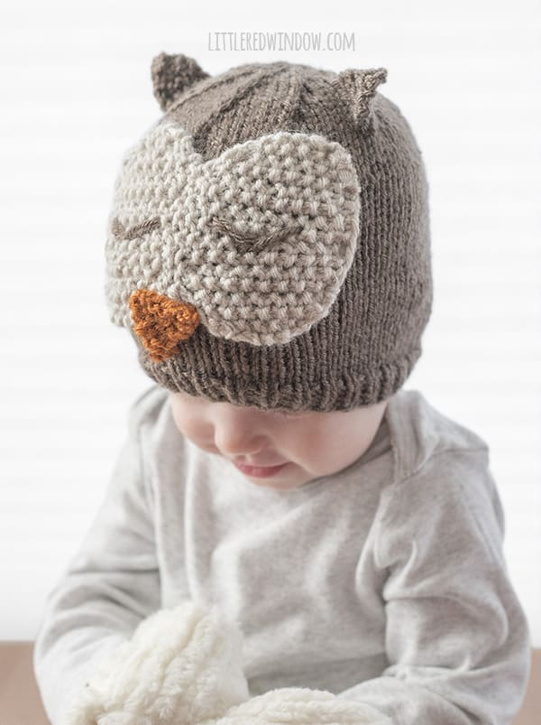Sleepy Owl Hat Knitting Pattern, adorable for babaies and toddlers! | littleredwindow.com