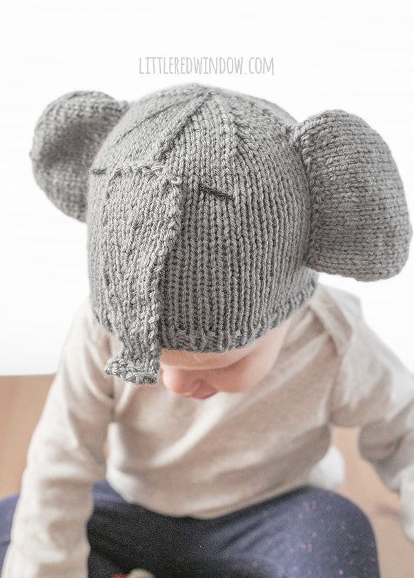 Tiny Elephant Hat Knitting Pattern for Babies and Toddlers! | littleredwindow.com