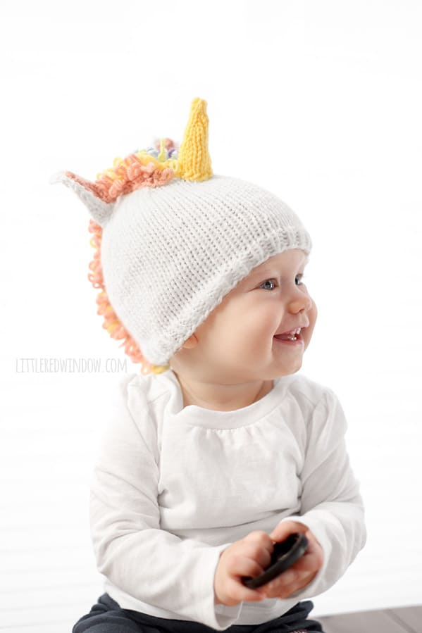 Magical Unicorn Hat Knitting Pattern for babies and toddlers! | littleredwindow.com