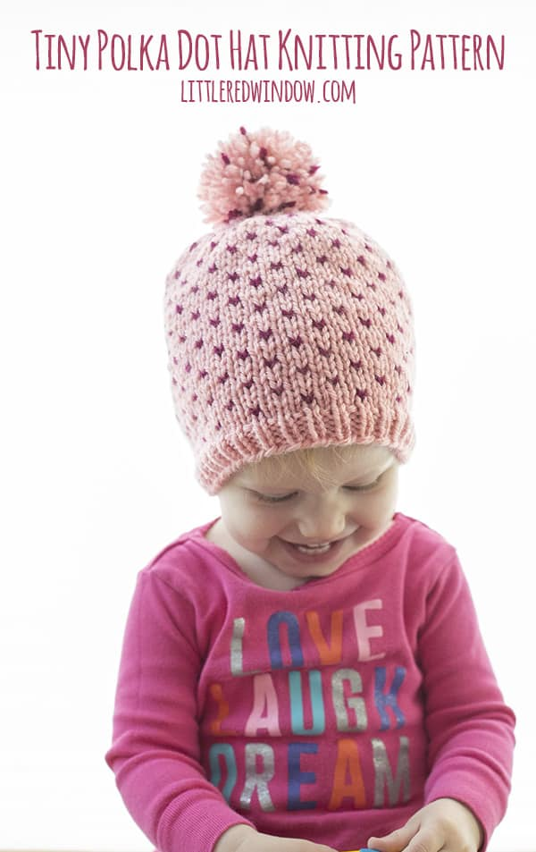 Tiny Polka Dot Hat Knitting Pattern for babies and toddlers! | littleredwindow.com