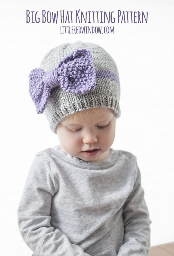 Big Bow Hat Knitting Pattern for newborns, babies and toddlers!
