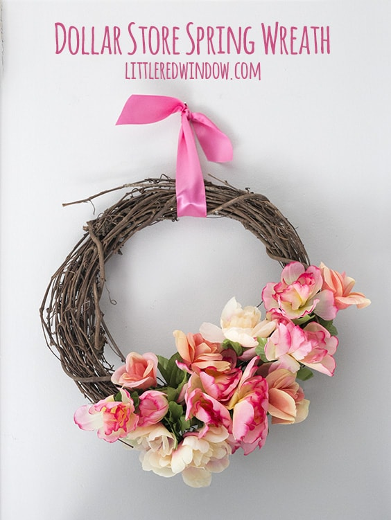 DIY Dollar Store Spring Wreath with video tutorial! | littleredwindow.com