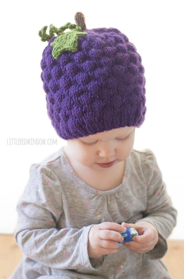 Grape Hat Knitting Pattern for newborns, babies and toddlers! | littleredwindow.com